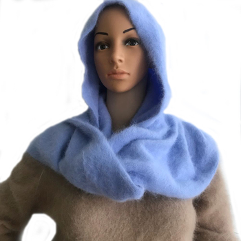 LOVELYDONKEY women Plush mink cashmere  Ladies hand knitting hat+scarf Winter warm Hooded scarf free shipping M1044