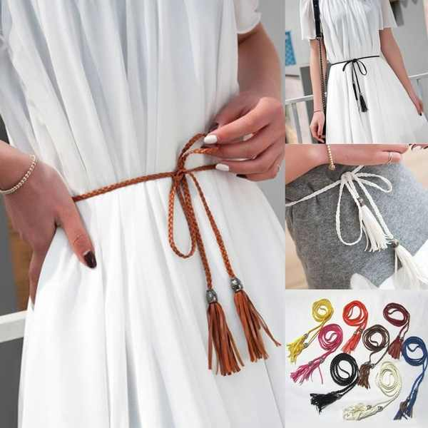 1PC Thin Waist Rope Belt Women Simple PU Leather Tassel Braided Self-Tie Belt Daily life