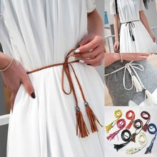 1PC Thin Waist Rope Belt Women Simple PU Leather Tassel Braided Self-Tie Belt Daily life(China)