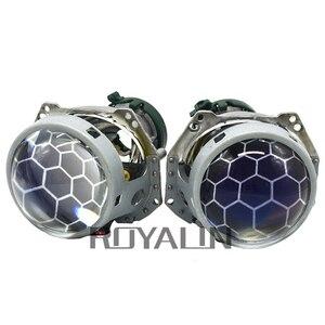Image 4 - ROYALIN العسل الأزرق Bixenon العارض ل Hella 3R G5 H4 D2S المصابيح الأمامية عدسة أضواء السيارة التحديثية العدسات النقش D1S D2H