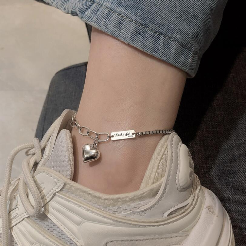 New Heart Rectangular Card Letter Anklets Bracelets For Women Trend Creative Jewelry Accessories Party Gifts SAB89