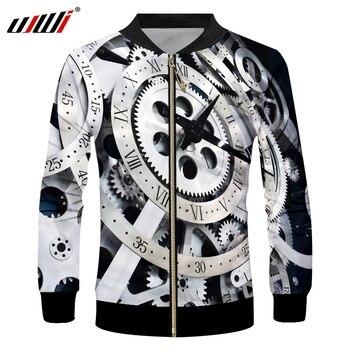 UJWI Gear Mechanical 3D Sublimation Print Zipper Up Jacket Pilot Jacket Coat street Jackets Fashion худи print bar panda pilot