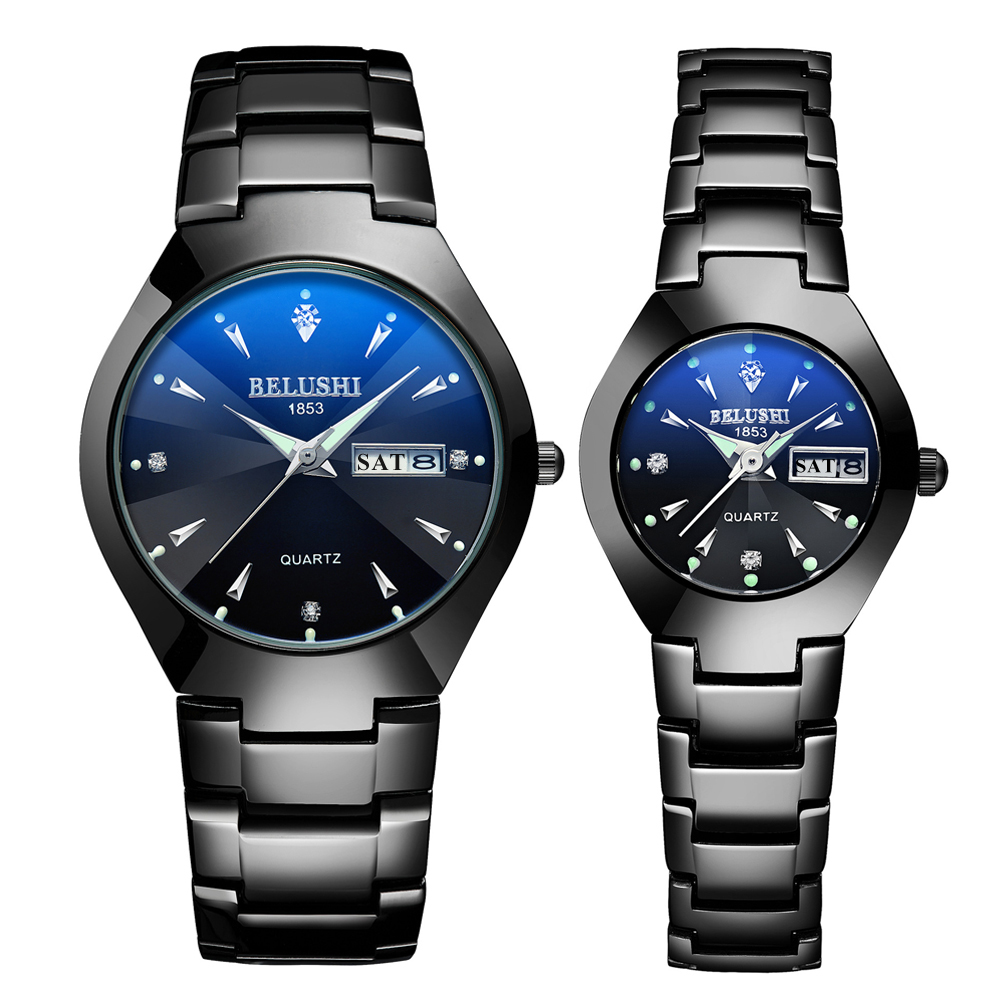 1 Pair Couple Watches 2020 Top Quality Steel Black Wrist Watch For Men Women Bracelet Ladies Watch Reloj Hombre Lovers Watches