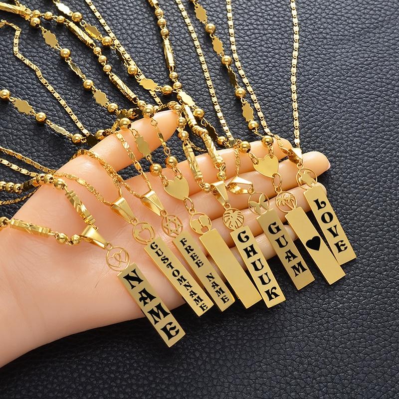 Anniyo Customize Capital Letters Pendant Necklaces,Personalized Name Hawaiian Kiribati Heart Lovers Coconut Tree Jewelry #156721