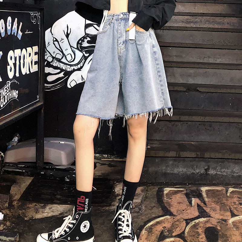 Streetwear Casual Denim Shorts Women Jeans Overall Short Oversize Vintage High Waist Loose Shorts Raw Edge Summer Korean Style