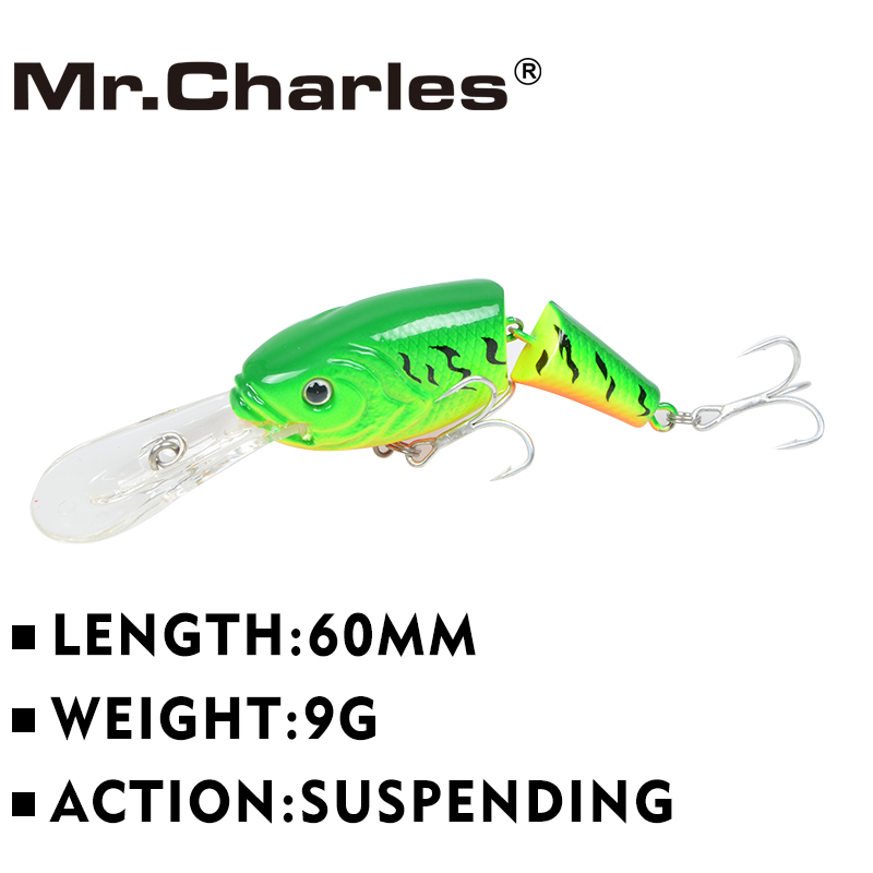 Mr.Charles CN52 Fishing Lure 60mm/9g Suspending Vib MINNOW Assorted Different Colors Hard Bait high-carbon steel H