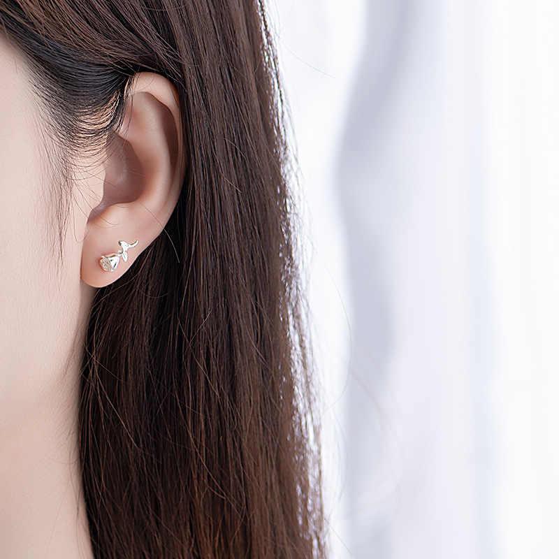 Lidavi 925 เงินสเตอร์ลิงน่ารัก Rose Studs ต่างหูของขวัญขนาดเล็กสำหรับผู้หญิงอารมณ์หวานน่ารักเครื่องประดับดอกไม้ใหม่ VES6239