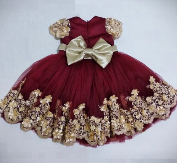 Burgundy Baby Girls Birthday Party Dresses With Gold Lace Bow Infant Toddler Little Kids First Birthday Dress Formal Wear