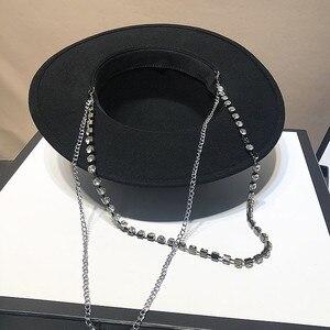Image 4 - Chapeau de célébrités pour femmes, bonnet fedoras à chaîne métallique, pour dîner formel, panama