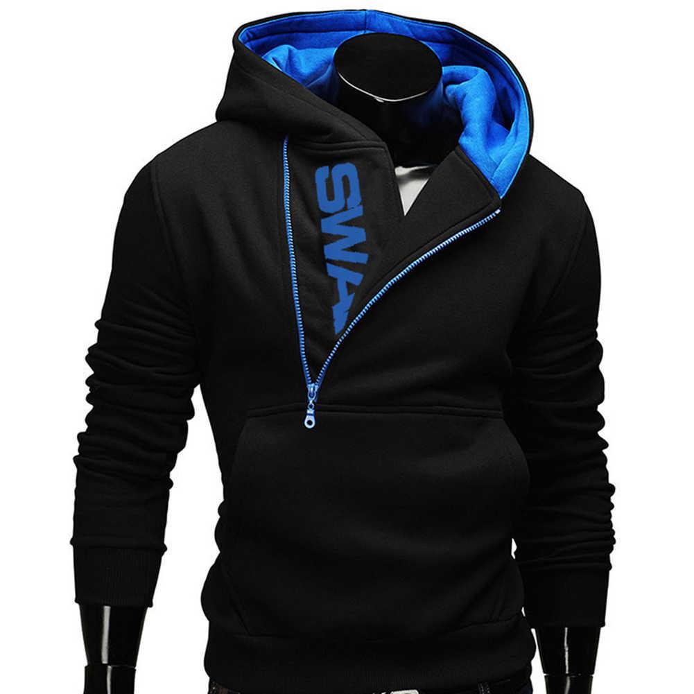 กีฬาผู้ชาย PLUS ขนาด Slant Zipper ตัวอักษร Hoodies เสื้อแขนยาว Hooded Sweatshirt