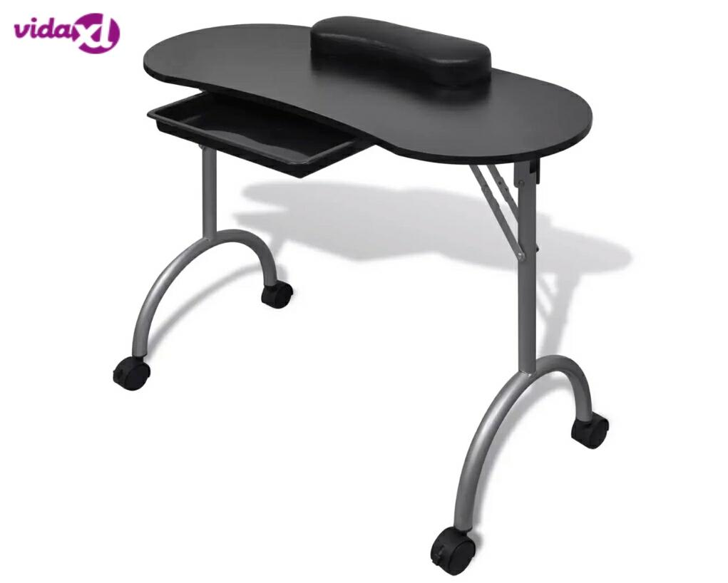 Vidaxl Foldable Manicure Table With A Thick Wrist Pillow 4 Lockable Wheels Nail Tables Professional Commercial Furniture V3