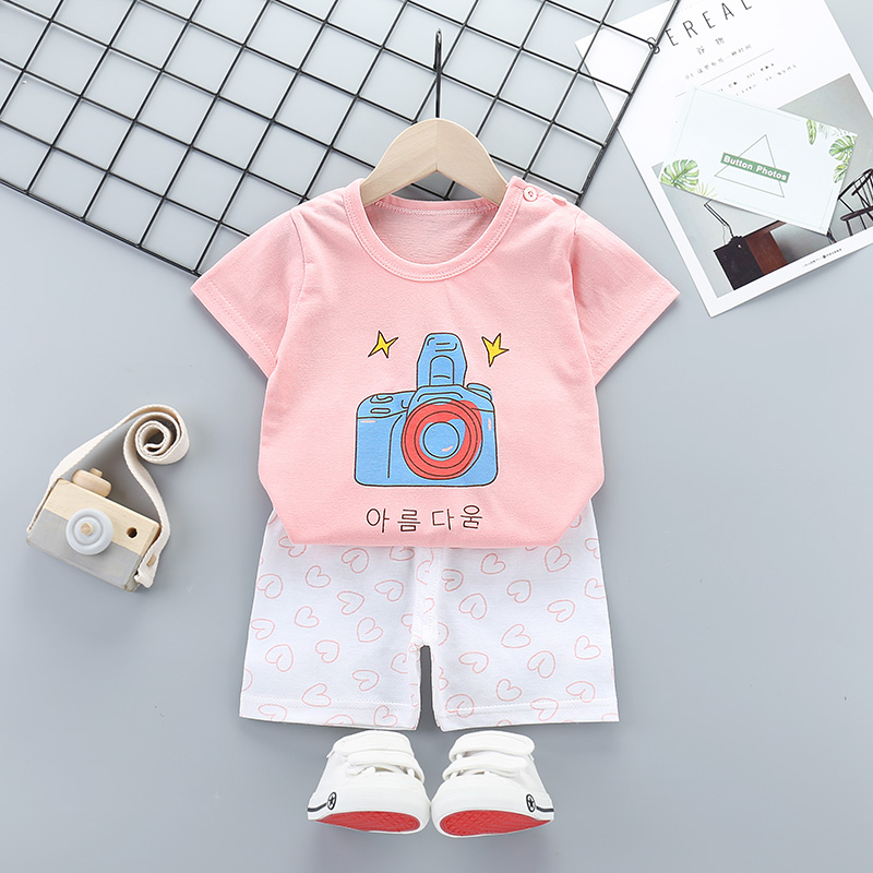2 Pcs Baby Boys Girls Clothes Short Sleeve T-Shirt Children's Clothing Set for Kids Lovely Cute Cartoon Pajamas Clothe 2-8 Years 1