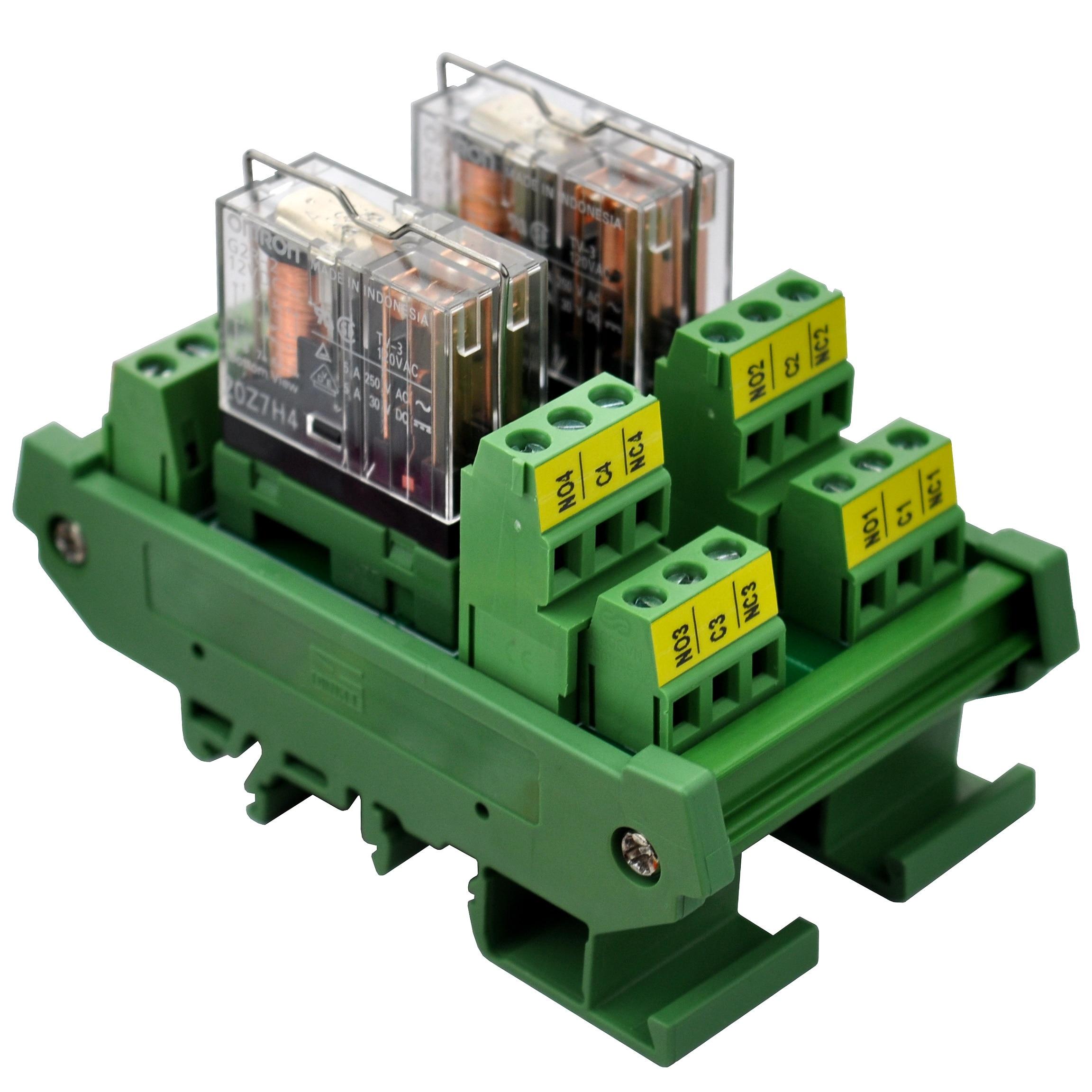 ELECTRONICS-SALON DIN Rail Mount AC/DC 12V Control 2 DPDT 5Amp Pluggable Power Relay Interface Module.