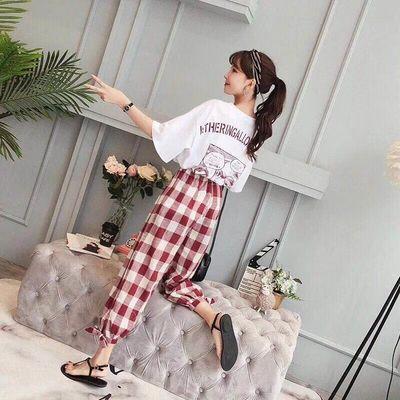 2019 Women Print Short Sleeve T-shirt Plaid Pants Two-piece Set Summer New Korean Loose Large Size Lattice Casual Fashion Suit