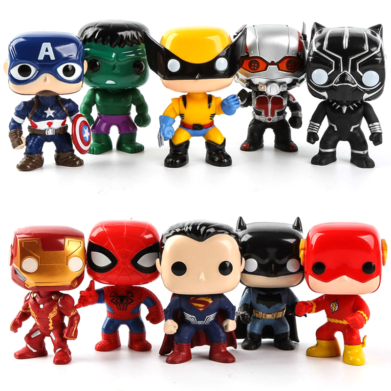 FUNKO POP Marvel Toys Figures DC Super Heroes THOR Spider-Man Hulk Ironman Captain American Vinyl Figura Dolls Gifts 10pcs/set