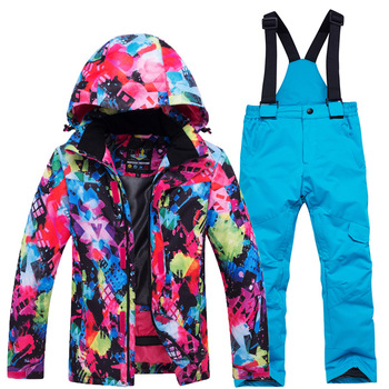 цены Winter Children Ski Suit Girl Waterproof Hooded Outdoor Snowboard Jacket Boy Overalls Ski Set Warm Snow Pants Skiing Windproof