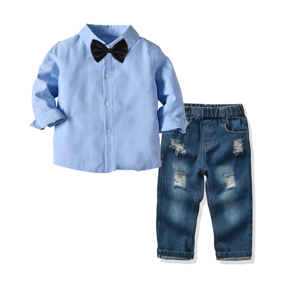 2020 gentleman Boy Suit Children's Clothing Sets For Spring Kids With Long Sleeves Shirts + jeans Trousers 2pcs kids Suit 7
