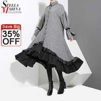 Vestido camisero gris estilo inglés para mujer, vestido Midi de manga larga, diseño de telas combinadas con volantes, talla grande para mujer, vestido Vintage elegante para fiesta 3073