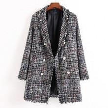2019 New Women Tweed Coat Autumn Blazer Plaid Long Sleeve Tassel Notched Jacket