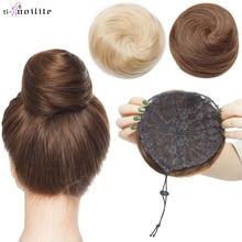 S-noilite 30g Hair Bun Donut Chignon Hairpiece Wrap On Elastic Scrunchie Black Brown Blonde Headwear Clip In Extension Hair Band