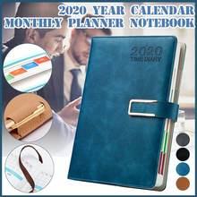 Agenda 2020 Agenda mensuel carnet de voyage de luxe Business cahier en cuir synthétique polyuréthane retour à lécole bloc notes Plan organisateur livres