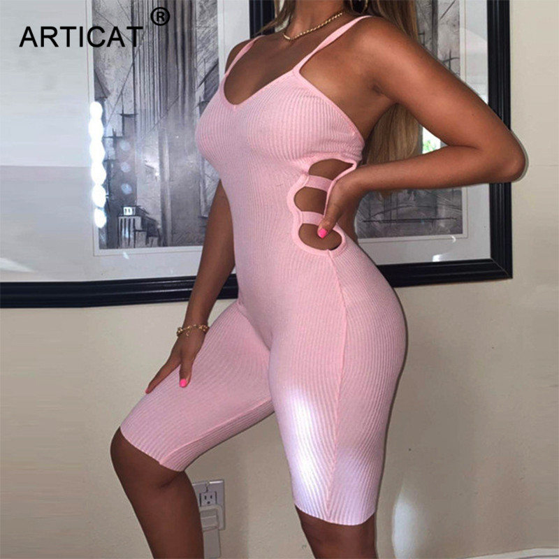Articat Sexy Hollow Out Playsuit Women V Neck Backless Sexy Rompers Summer Bodycon Jumpsuit Fitnees Skinny Solid Color Bodysuit