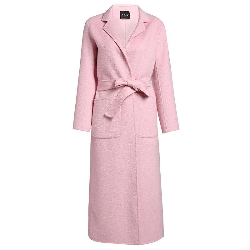 Abrigo de invierno para mujer rosa de doble cara de lana de Cachemira prendas de vestir 2019 Otoño de talla grande abrigos de moda para damas largo envío gratis - 5