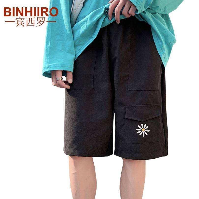 2020 Summer Men's Cargo Pants Harajuku Comfortable High Quality Flower Print Knee Length Pants Loose New Straight Casual Shorts