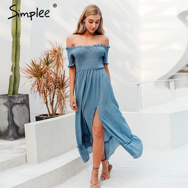 Simplee Off Shoulder Polka Dot Summer Dress Women Ruffle High Waist Pleated Female Long Dress Holiday Beach Split Ladies Dresses