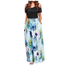 Vestido de verão feminino ombro frio floral impressão elegante maxi vestido longo bolso leopardo vestido longo # j4s