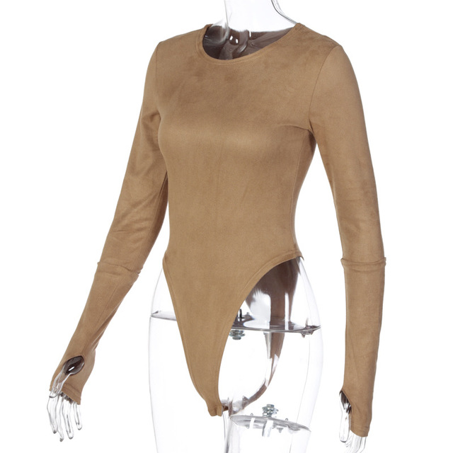 Faux Suede Bodysuit With O-Neck Long Sleeves 5