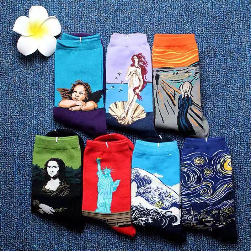 Hot Retro Crew Cotton Socks Women Personality Art Mona Lisa Van Gogh Mural World Famous Painting Funny Socks Lovers Gift