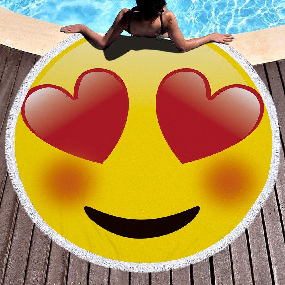 Impression mignonne ronde grande serviette de plage microfibre pour adultes gland 150cm diamètre tapisserie plage couverture serviette châle Yoga tapis