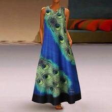 Pavão impressão longo maxi vestido de verão feminino plus size sem mangas boho verão o pescoço vestido de praia longo # g2