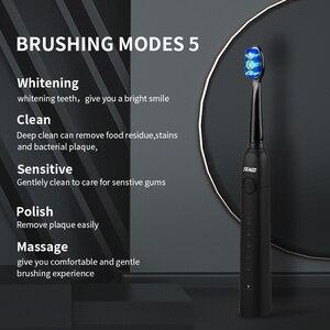 Image 3 - Зубная щетка электрическая, щетка для звуковой чистки зубов с умным таймером, 5 режимов, 3 запасных насадки, профессиональная гигиена, для путешествий