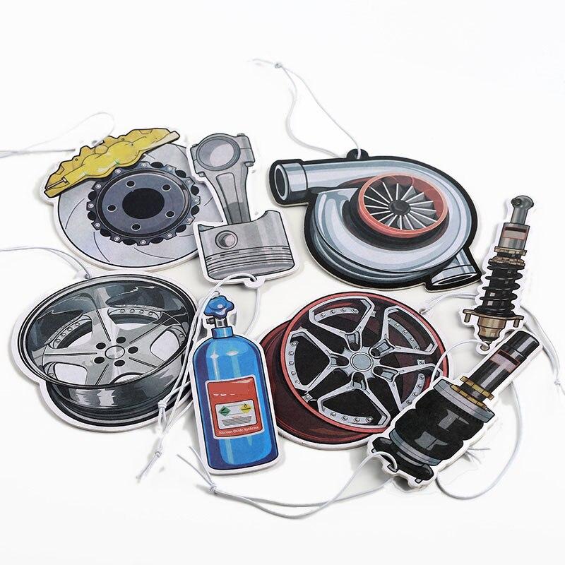 JDM Style Car Rear View Mirrow Pendent Air Freshener Solid Paper Piston Brake Disc Nos Turbo Wheel Rim Shock Absorber