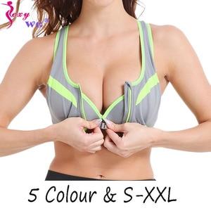 SEXYWG Zipper Sport Bra Yoga Shirt Women Sports Top Shockproof Tank Tops Crop Sexy Push Up Brassiere BH Sportswear Athletic Vest