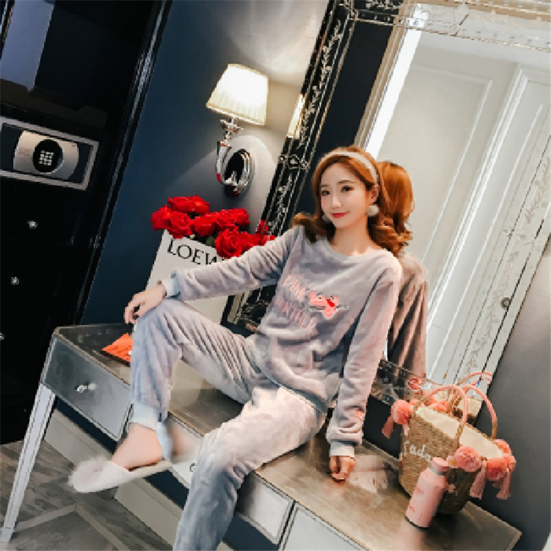 Autumn And Winter New Style Long Sleeve Flannel Pajamas Women's Korean-style Pink Panther Coral Velvet Warm Loose-Fit Homewear S