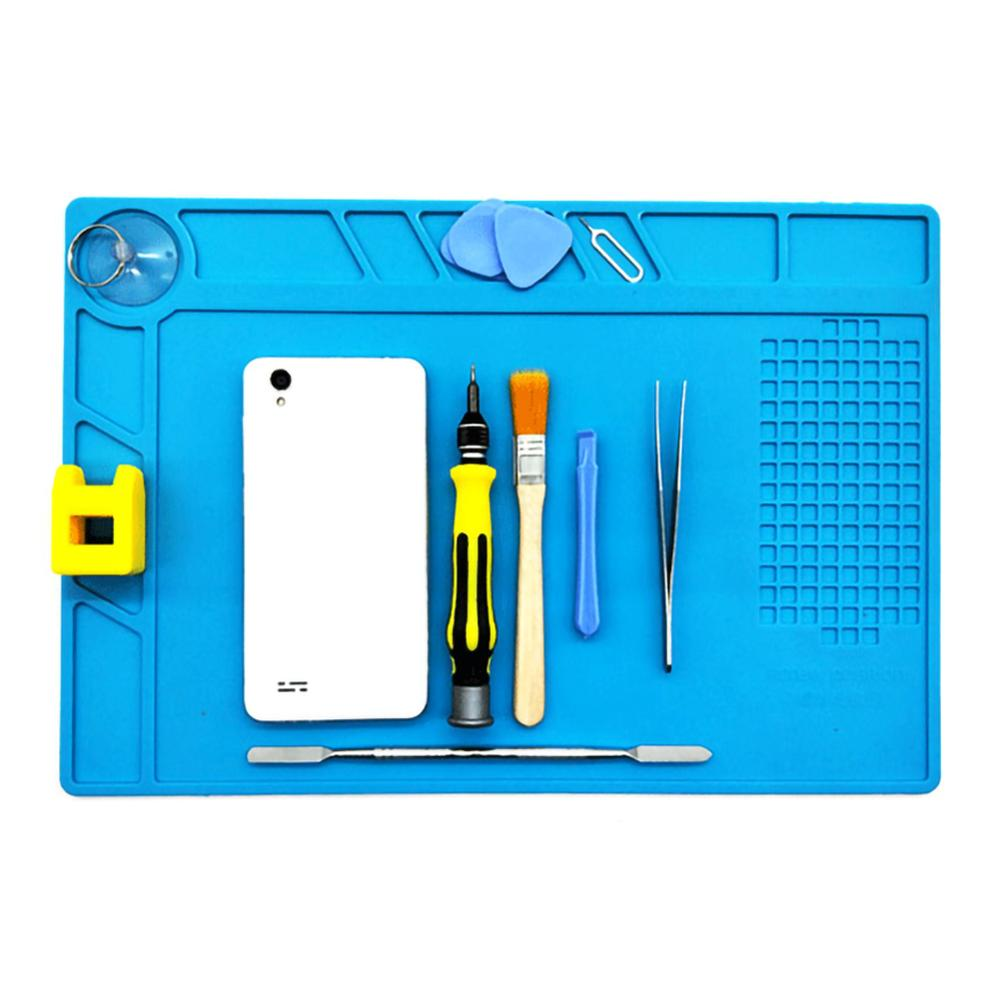 Silicone Heat Insulation Desk Pad Mat Soldering Station Phone Repair Maintenance (13.2x8.9 Inch)