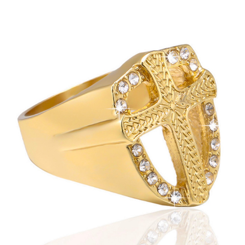Fashion Crystal Gold Tone Knights Cross Finger Ring For Women Men Prayer Christian Jesus Band Biker Rock Hip Hop Wedding Jewelry image