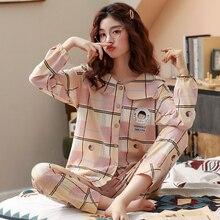 BZEL Spring Autumn Winter Sleepwear Sets Womens Pajamas Cotton Home Wear For Femme Plus Size Pink Nighty Fashion Slaid Pijamas