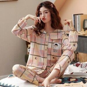 Image 1 - Bzel春秋冬パジャマセット女性のパジャマの綿のホームウェアファムプラスサイズピンク寝間着ファッションslaid pijamas