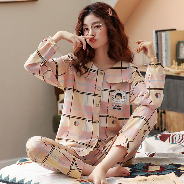 Bzel春秋冬パジャマセット女性のパジャマの綿のホームウェアファムプラスサイズピンク寝間着ファッションslaid pijamas