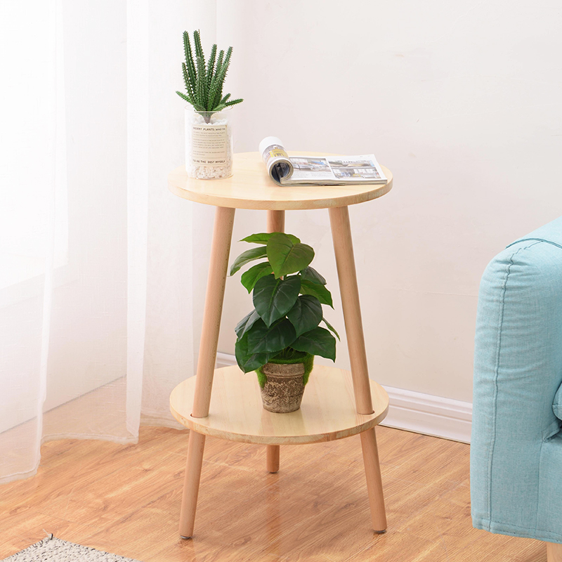 Tea Table Modern Simple Storage Table Creative Wood Corner Several Round Double-layer  Coffee Table For Living Room Minimalist