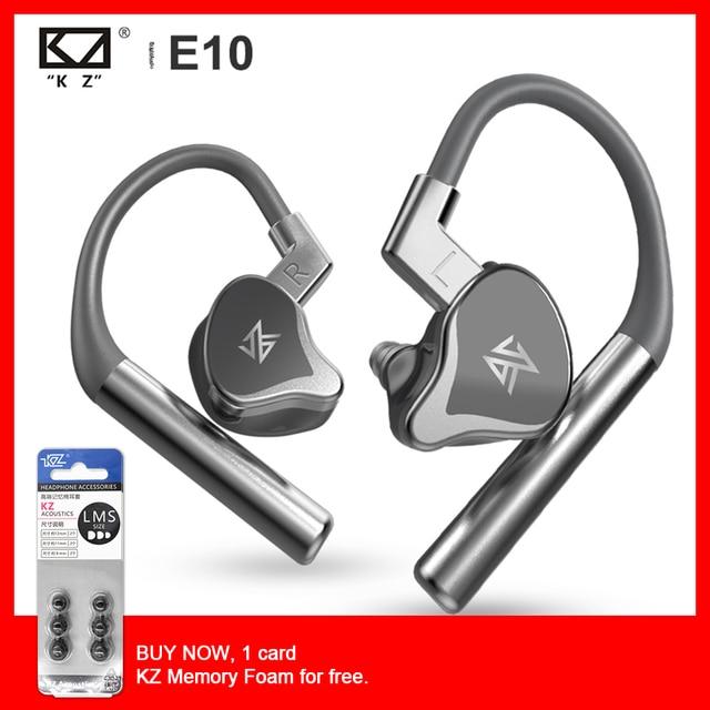 KZ E10 TWS صحيح لاسلكي الهجين سائق 1DD + 4BA بلوتوث سماعة باس سماعة أذن صغيرة رياضية Apt X المدمج في المزدوج ميكروفون سماعة