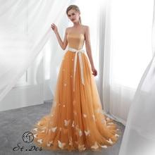 S.T.DES Evening Dress 2020 New Arrival A-line Strapless Orange Sleeveless Designer Floor Length Party Dinner