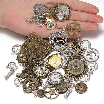 50g 100g Mixed Charms Pendants Vintage Antique Bronze Clock Bell Bracelets Necklace Craft Metal Zinc Alloy DIY Jewelry Making wholesale 15pcs alloy enamel metal bee charms for jewelry pendants diy earrings necklace making accessory