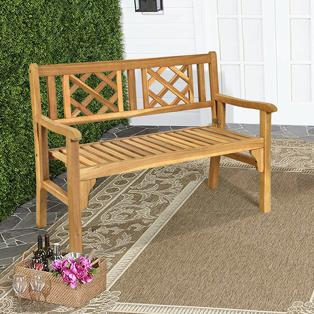 Patio Foldable Bench with Curved Backrest and Armrest  5