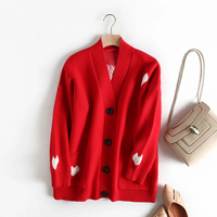 Chic Women Single Breasted Sweet Heart Print Blue Cardigans Jumpers Red Sweater For Cute Girl Lovely Knitted