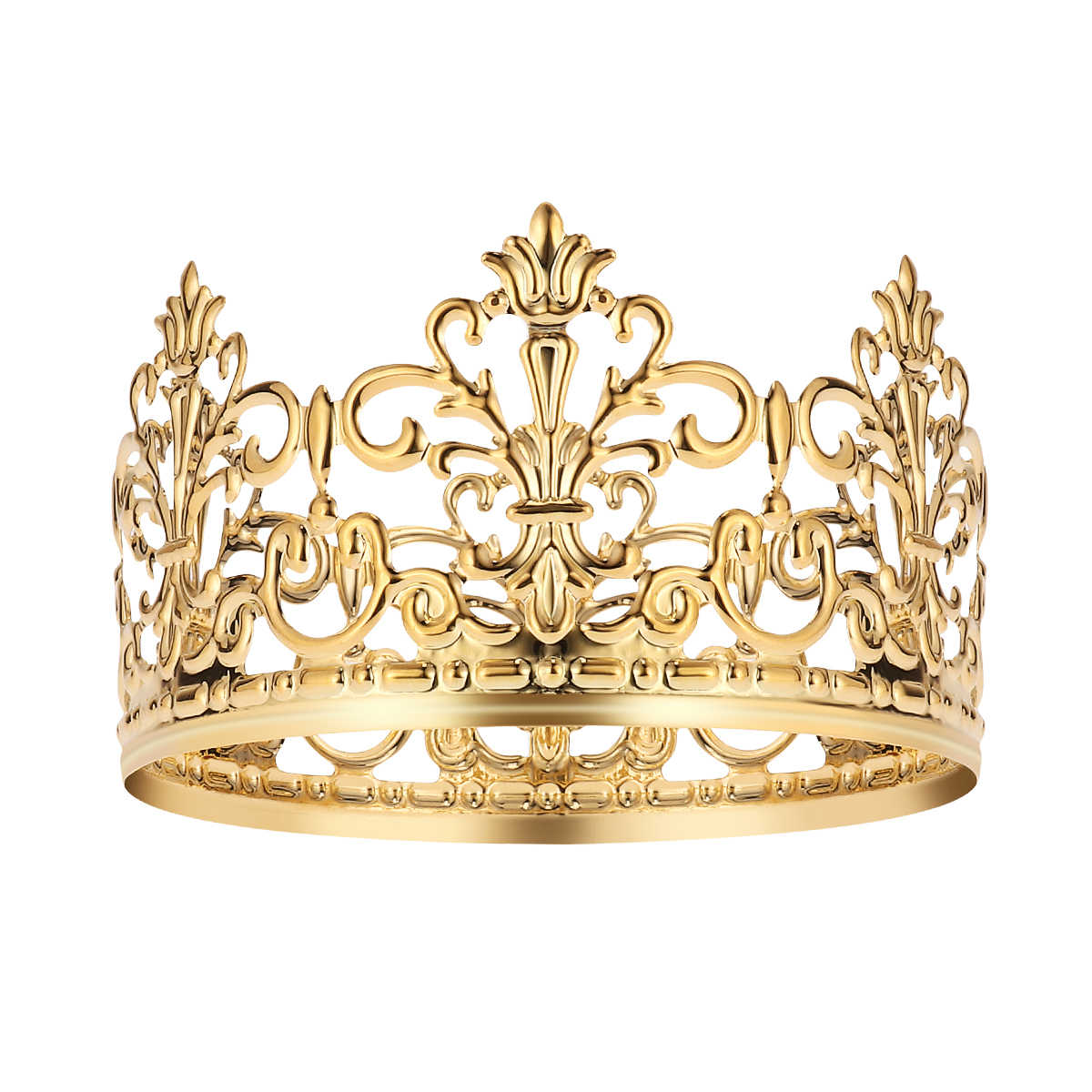 1pc Cake Topper Tiara Crown Party Cake Decoration Crown Hair Ornaments Wedding Supplies Accessories (Gold)